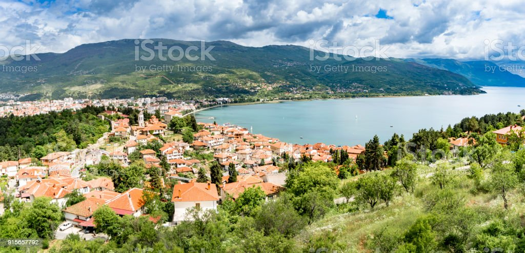 Beautiful Panorama of Ohrid, Macedonia.the attractive city at the shore of lake Ohrid has become an important tourist destination and is part of the UNESCO world heritage site Ohrid lake stock photo