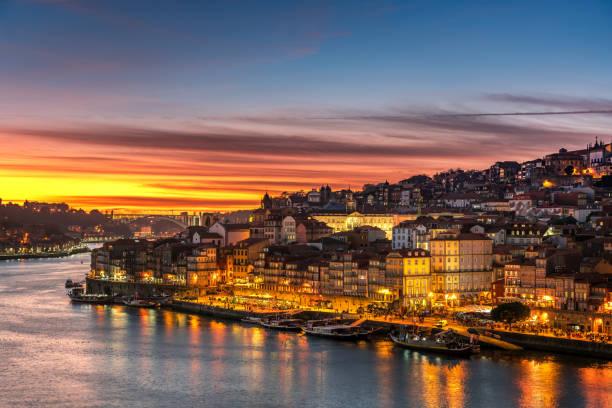 beautiful panorama of Ribeira and Douro river Porto at sunset, Portugal stock photo