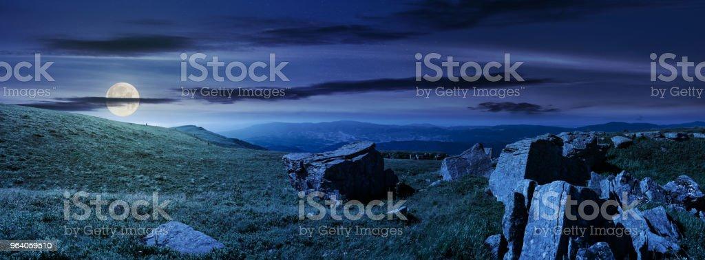 beautiful panorama of Runa mountain at night - Royalty-free Back Stock Photo
