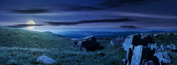 beautiful panorama of Runa mountain at night stock photo