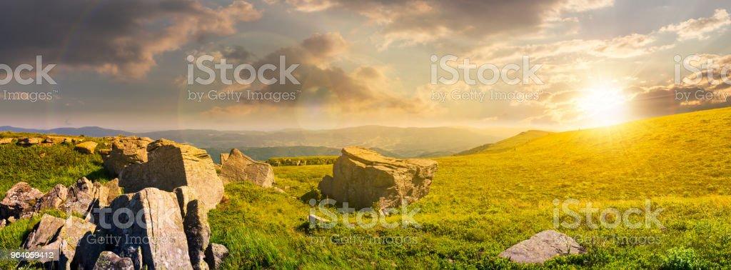 beautiful panorama of Runa mountain at sunset stock photo
