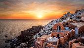 Beautiful panorama of Santorini at sunset