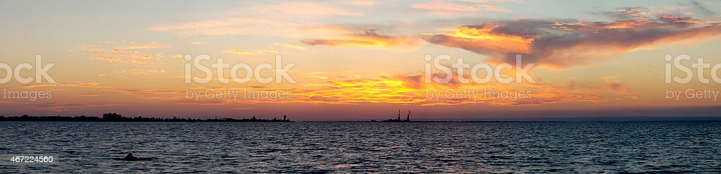 Beautiful panorama of sunset in the Donuzlav Lake, Crimea stock photo