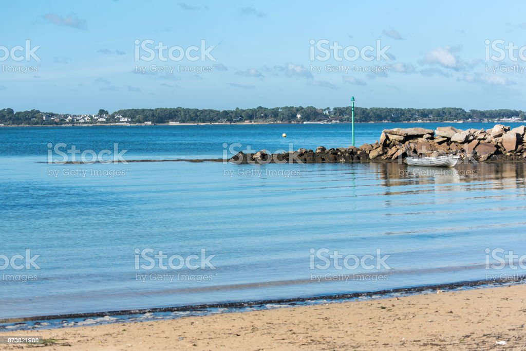 Beautiful panorama of the Goret beach in Ile-aux-Moines stock photo