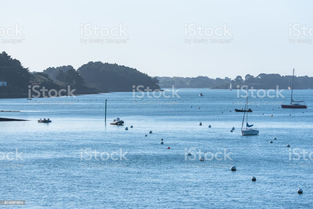 Beautiful panorama of the Ile-aux-Moines in Morbihan stock photo