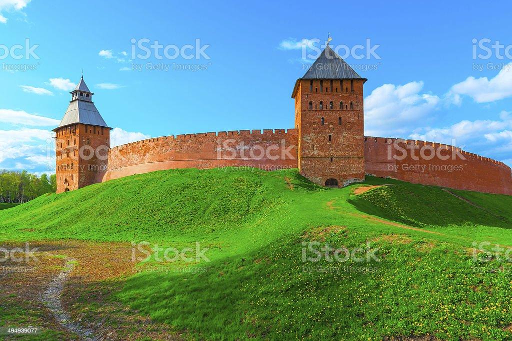 beautiful panorama of the walls  Novgorod Kremlin royalty-free stock photo