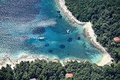 Anchored sail boat near Losinj island-3000 feet altitude-Croatia