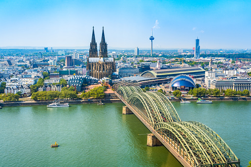 Beautiful panoramic aerial landscape of the gothic catholic Cologne cathedral, Hohenzollern Bridge and the River Rhine in Cologne, Germany