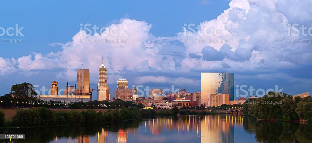 A beautiful panoramic shot of the Indianapolis skyline stock photo