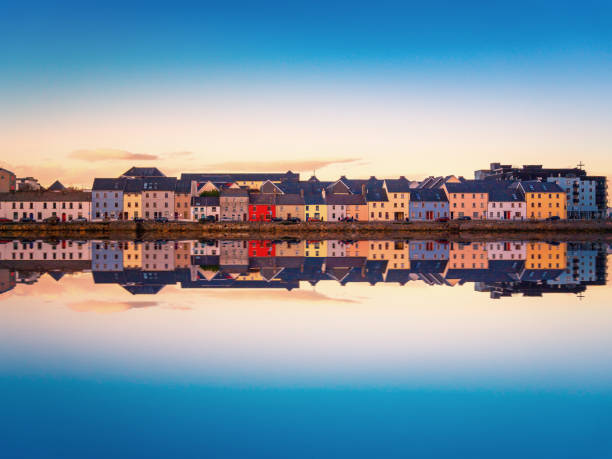 Beautiful panoramic sunset view over The Claddagh Galway in Galway city, Ireland stock photo