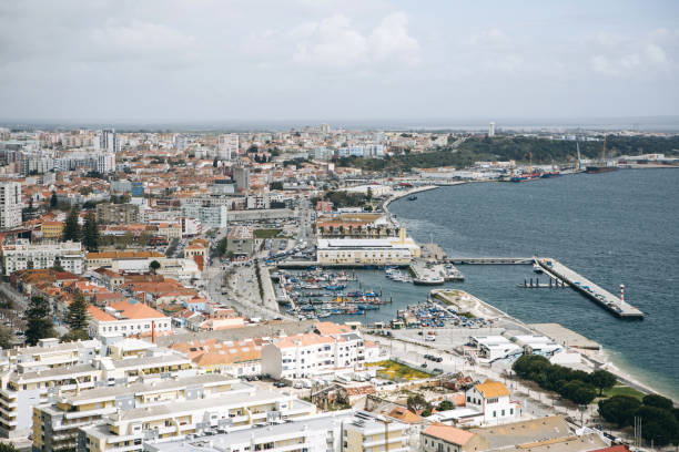 beautiful panoramic view from above to the port city of setubal in portugal located on the atlantic coast - setubal imagens e fotografias de stock