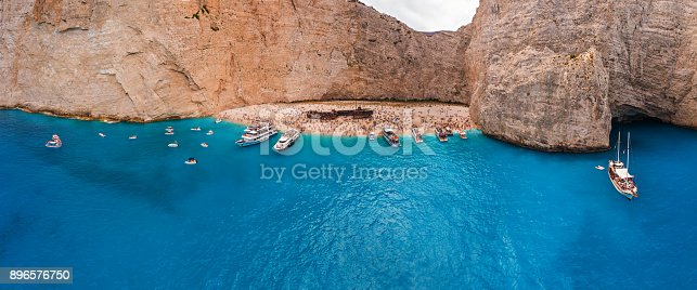 490314373 istock photo Beautiful panoramic view from the air at the famous Navagio Shipwreck beach 896576750