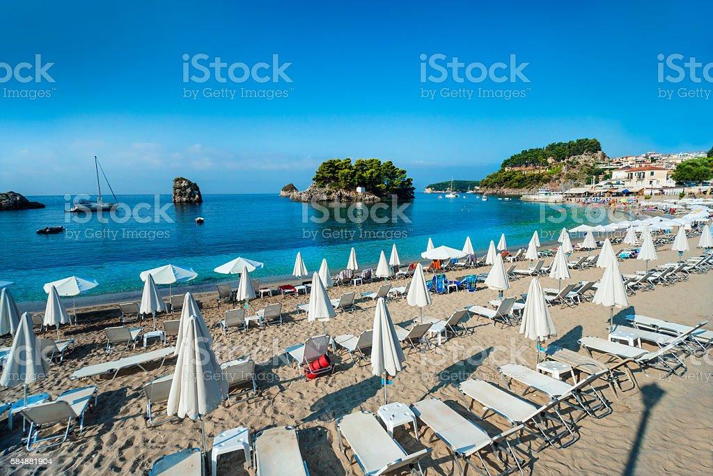 Beautiful Panoramic View of City Beach in Parga, Greece stock photo