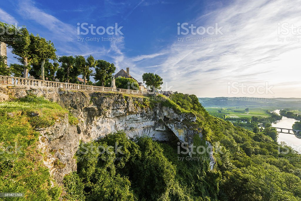 Beautiful panoramic view of cliffs from Dome Dordogne stock photo