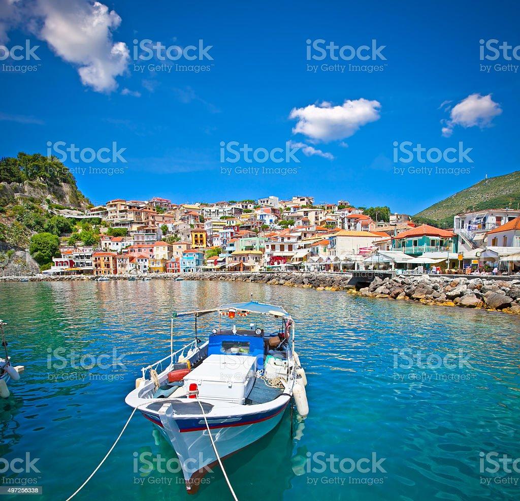 Beautiful panoramic view of Parga, Greece. stock photo