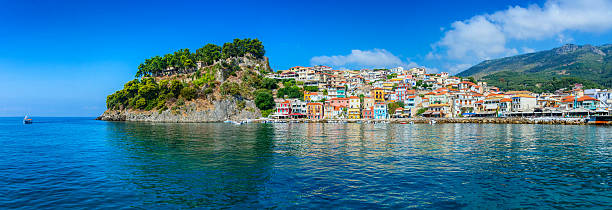 beautiful panoramic view of parga harbour, greece - mediterranean culture stock photos and pictures