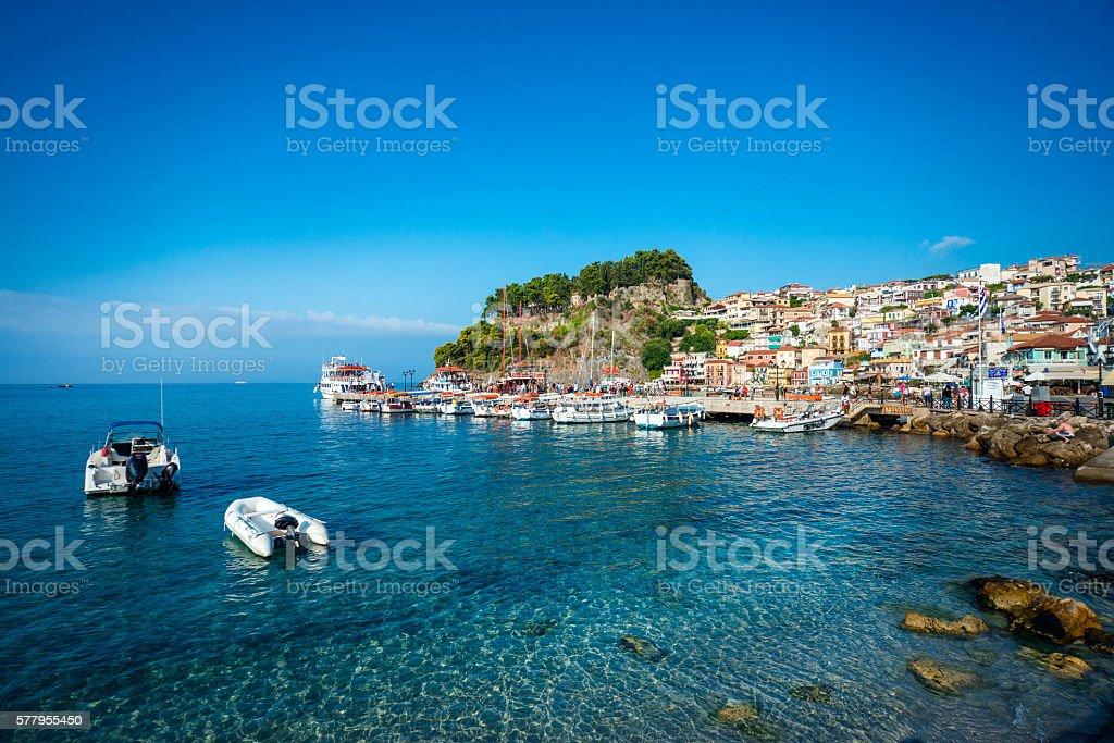 Beautiful Panoramic View of Parga Harbour, Greece stock photo
