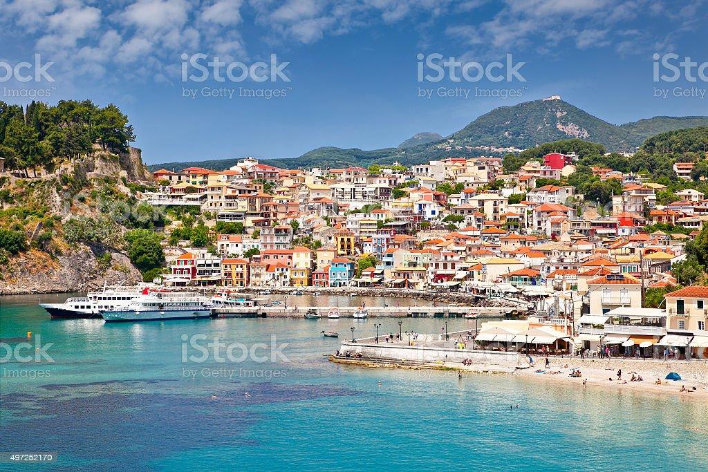 Beautiful panoramic view of Parga port, Greece. stock photo