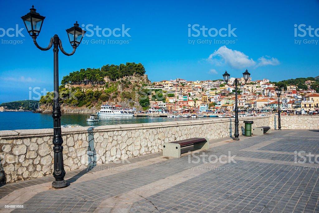 Beautiful Panoramic View of Parga promenade, Greece stock photo