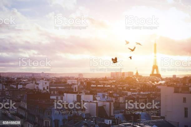 Photo of beautiful panoramic view of Paris at sunset
