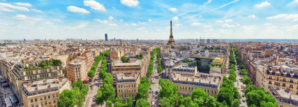 Beautiful panoramic view of Paris from the roof of the Triumphal Arch. Champs Elysees and the Eiffel Tower. stock photo