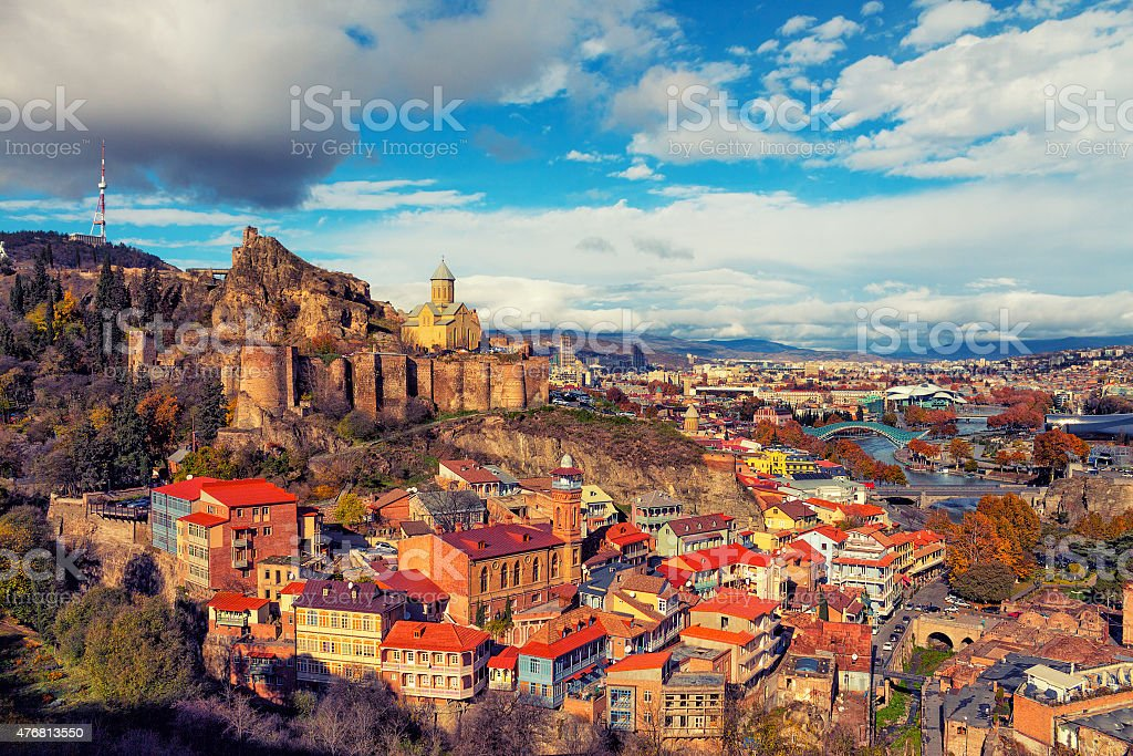 Beautiful panoramic view of Tbilisi at sunset royalty-free stock photo