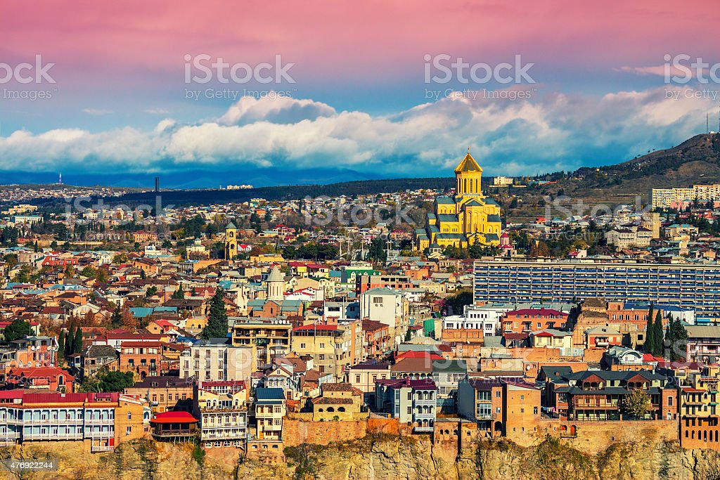 Beautiful panoramic view of Tbilisi at sunset stock photo