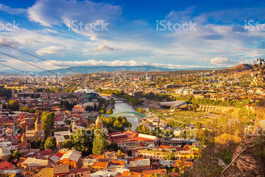 Beautiful panoramic view of Tbilisi stock photo