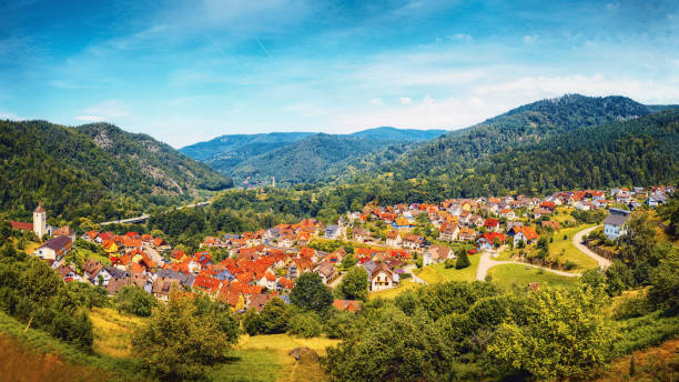 Beautiful panoramic view of the village Langenbrand in the mountains of Schwarzwald. stock photo