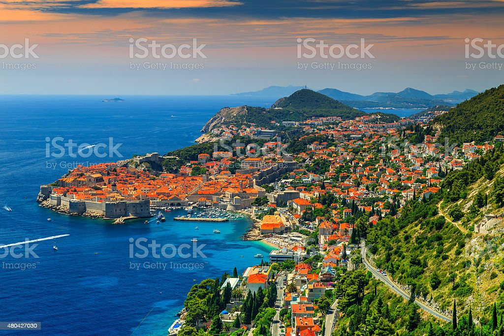 Beautiful panoramic view of the walled city,Dubrovnik,Dalmatia,Croatia stock photo