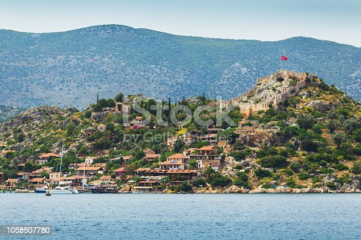 istock Beautiful panoramic view on island Kekova and the castle Simena on top of hill 1058507780