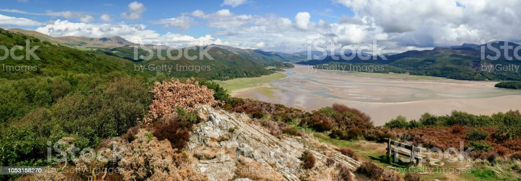 Beautiful panoramic view over Afon Mawddach and Cadair Idris (Snowdonia, Wales, United Kingdom) stock photo