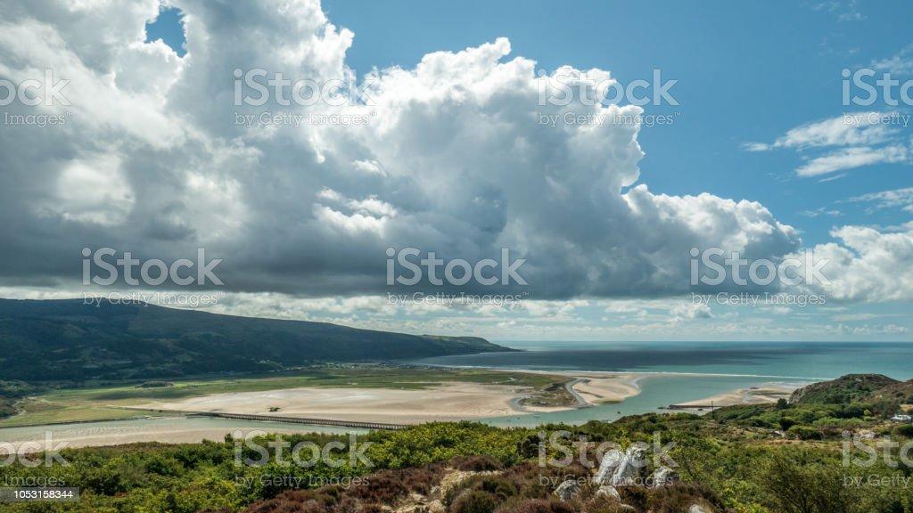 Beautiful panoramic view over Barmouth Bay (Snowdonia, Wales, United Kingdom) stock photo