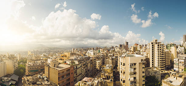 Beautiful panoramic view over Beirut Stitched Panorama view over Beirut or any other southern european city like Palermo. beirut stock pictures, royalty-free photos & images