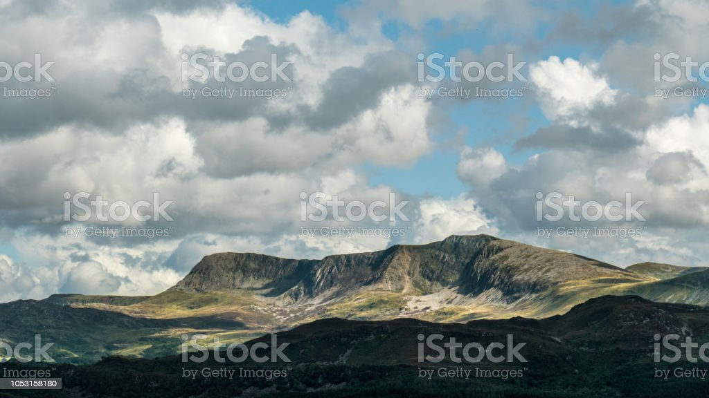 Beautiful panoramic view over Cadair Idris (Snowdonia, Wales, United Kingdom) stock photo