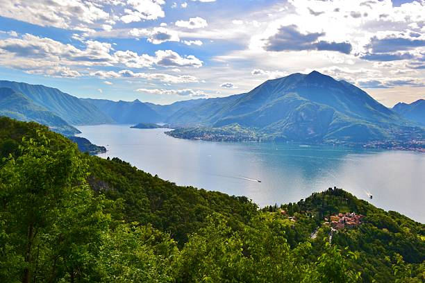 Beautiful panoramic view to Varenna, lake Como and Menaggio. stock photo