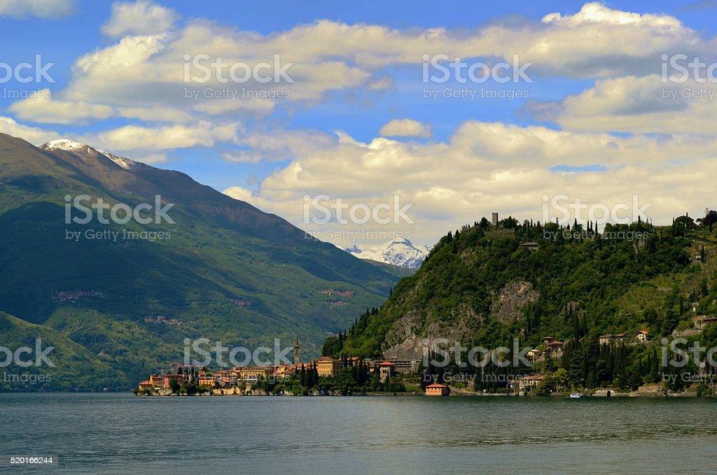 Beautiful panoramic view to Varenna peninsula at lake Como. stock photo