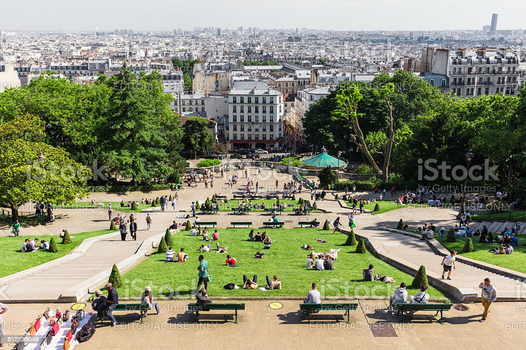 Beautiful panorana of Paris seen from Montmartre hill in the sunny...