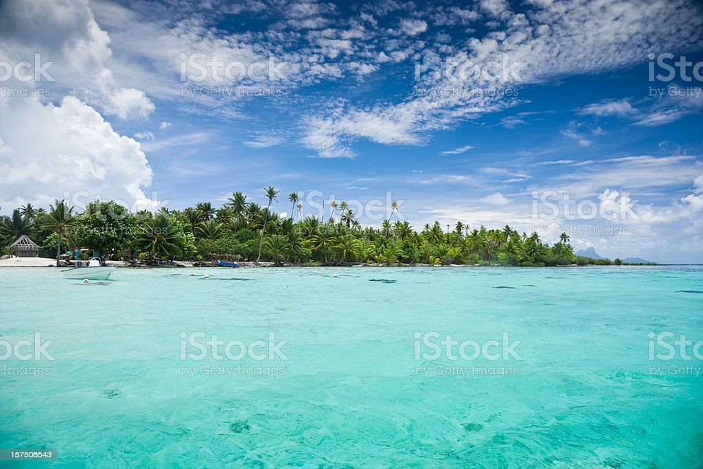 Beautiful Paradise Lagoon Tahaa Island stock photo