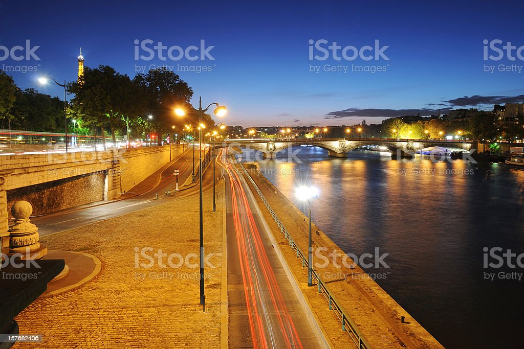 Beautiful Paris And Seine River At Night Xlarge Stock Photo Download Image Now Istock