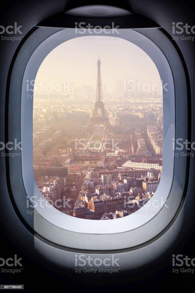 Beautiful paris cityscape from aircraft window stock photo