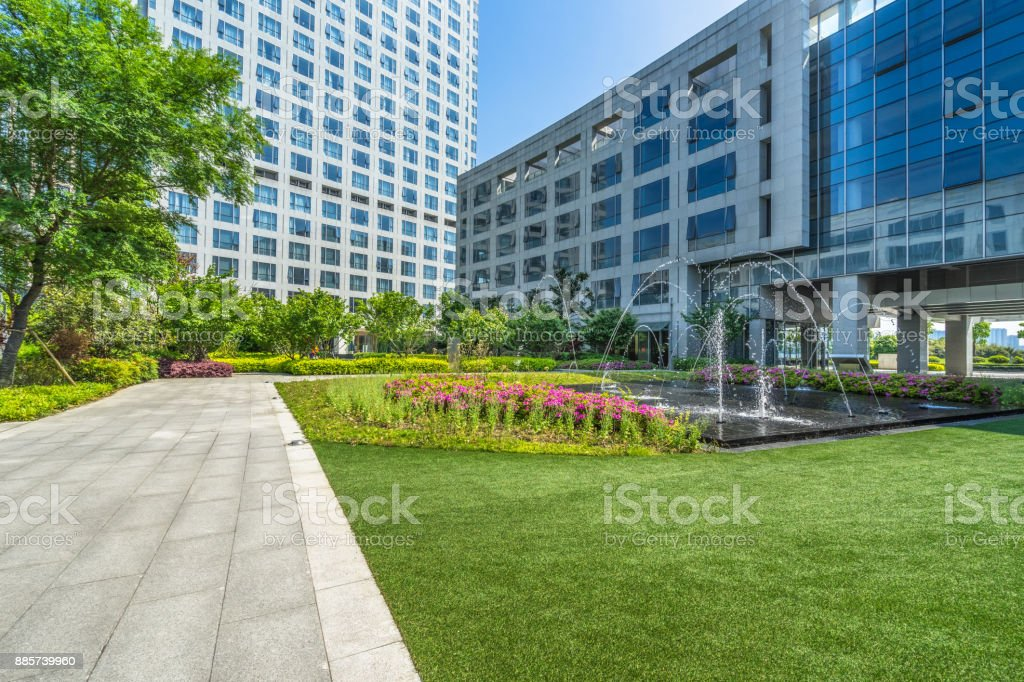Beautiful park at a sunny day stock photo