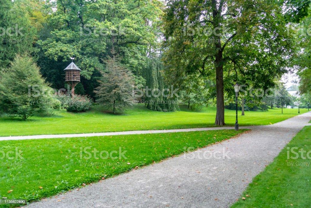 Prachtig park in het hart van Baden-Baden, Duitsland - Royalty-free Achtergrond - Thema Stockfoto