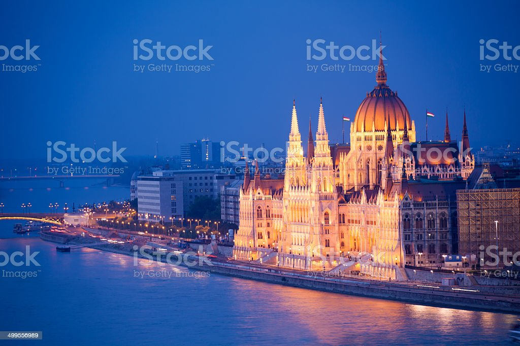 Beautiful Parliament view in Budapest at night stock photo