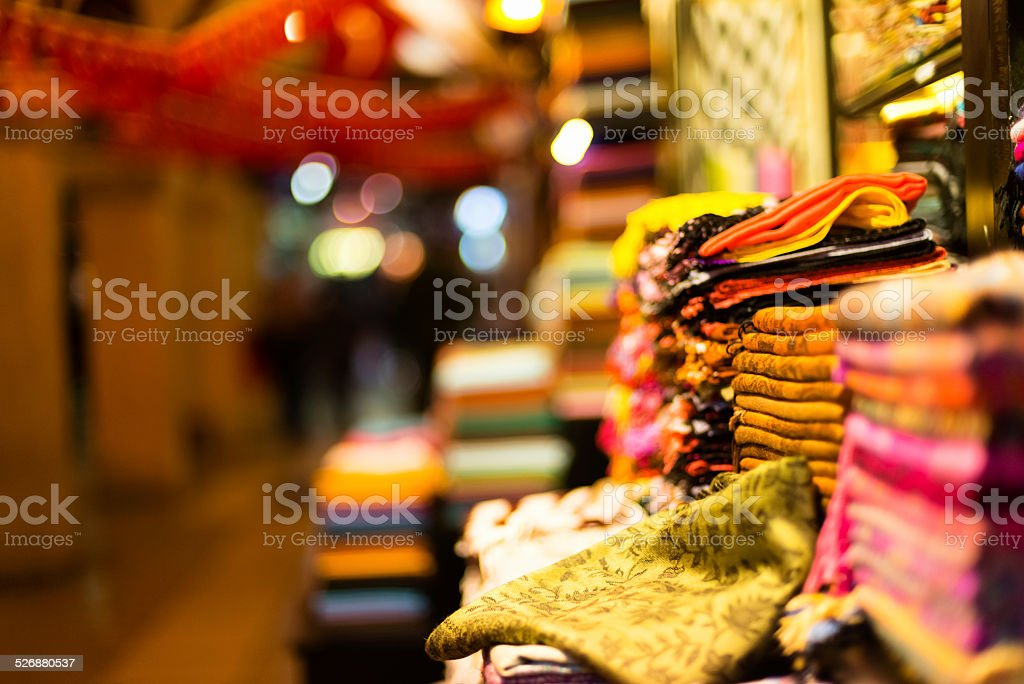 Beautiful Pashmina Scarves, Grand Bazaar, Istanbul, Turkey stock photo