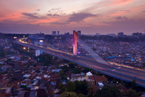 Beautiful Pasupati overpass with residential at dawn stock photo