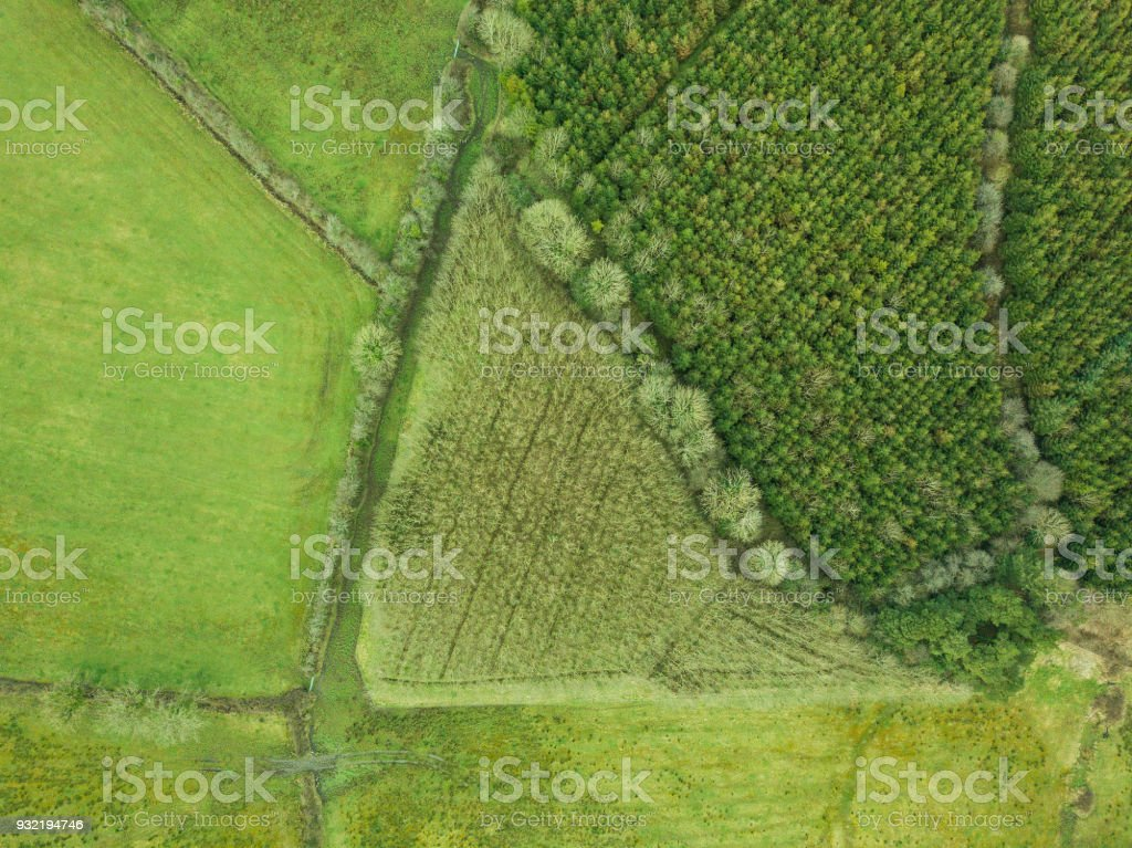 Beautiful patchwork fields and bogland in Roscommon, Ireland. stock photo