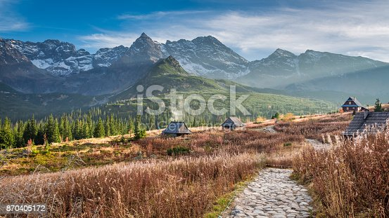 870409146 istock photo Beautiful path to the mountain valley in Tatras in autumn 870405172