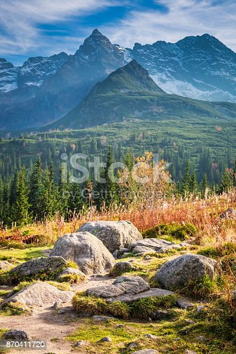 870409146 istock photo Beautiful path to the Tatras at sunset in autumn 870411720