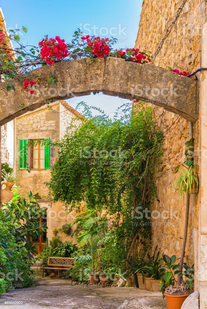 Beautiful patio at mediterranean village on Majorca island, Spain stock photo